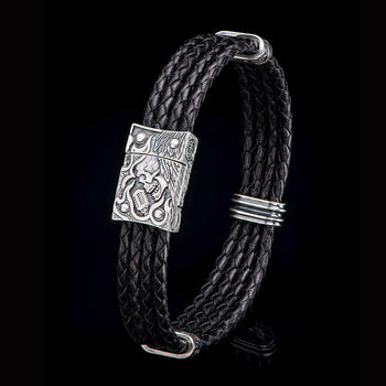 William Henry FREE BIRD Multi-Strand Leather Rock and Roll Mens Bracelet