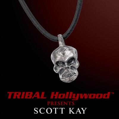 UnKaged SKULL Leather Cord Necklace by Scott Kay Sterling Silver