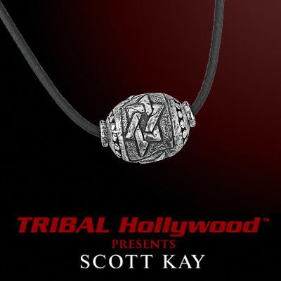 STAR OF DAVID SILVER BEAD Men's Leather Necklace by Scott Kay