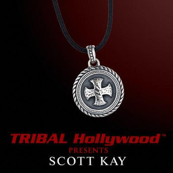 HAMMERED CROSS MEDALLION Sterling Silver Pendant with Black Leather Cord Necklace by Scott Kay
