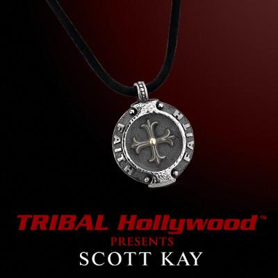 FAITH MEDALLION SILVER Cross Mens Pendant on Leather Necklace by Scott Kay