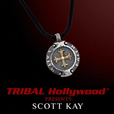 FAITH MEDALLION GOLD Cross Mens Leather Necklace by Scott Kay