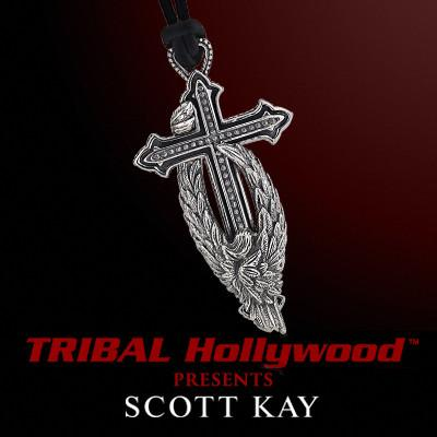 Scott Kay PROTECTING THE CROSS Silver Angel Wing Mens Leather Necklace