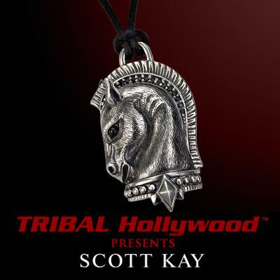 Scott Kay TROJAN HORSE Sterling Silver Mens Leather Necklace