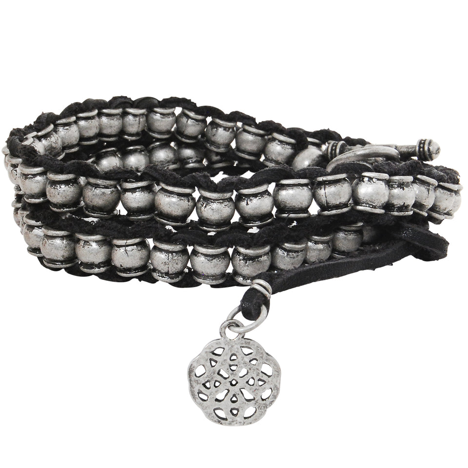 THE KNOLL Mens Bracelet Black Leather Double Wrap with Silver Beads