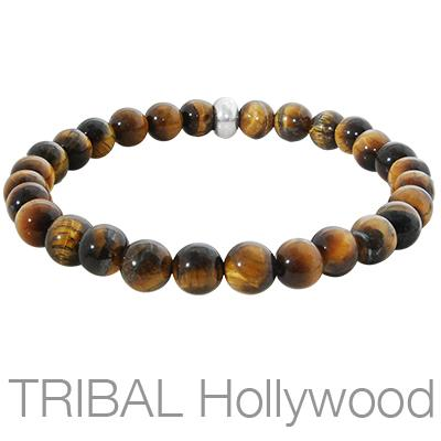 ION TIGER EYE Mens Beaded Bracelet Medium Width