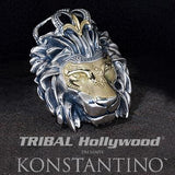 Konstantino CROWNED LION HEAD Silver and 18k Gold Necklace Pendant