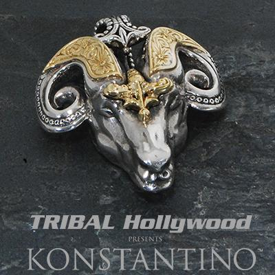 Konstantino GREEK RAMS HEAD Sterling Silver and 18k Gold Chain Pendant