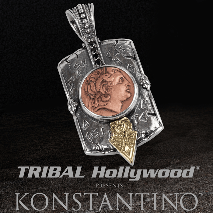 Konstantino ALEXANDER COIN DOGTAG in Silver & Copper with Gold Arrowhead