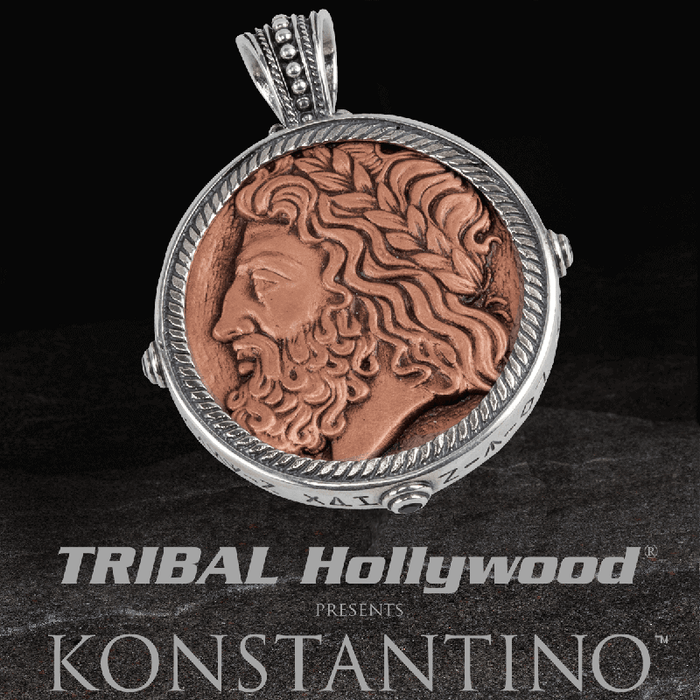 Konstantino ZEUS & HERCULES COIN Copper and Silver Reversible Chain Pendant