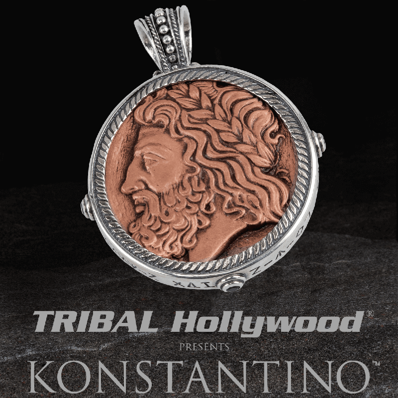 Konstantino ZEUS & HERCULES COIN Copper and Silver Reversible Pendant