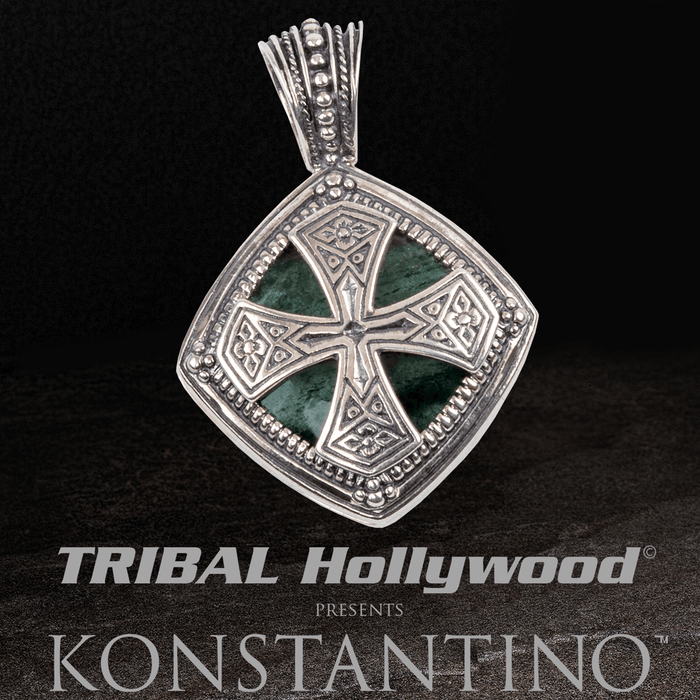 Konstantino GREEN AVENTURINE CROSS SHIELD Mens Chain Pendant in Silver
