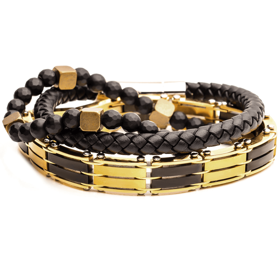 MIDAS Gold Steel Bracelet Stack with Black Leather Hematite and Brass Beads