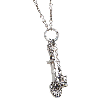 ROYAL ARMORY Mens Necklace Chain with Crown, Celtic Knot, and Dagger
