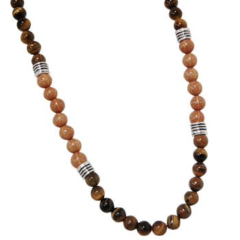 ERUPTION TIGERS EYE Beaded Mens Necklace with Lava Beads
