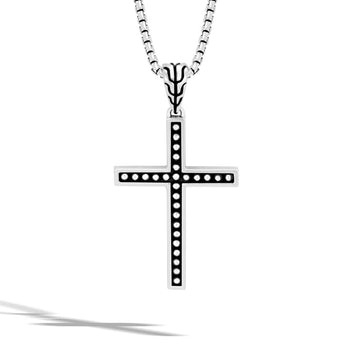 John Hardy Mens Jawan Technique Motif Silver Cross Chain Necklace
