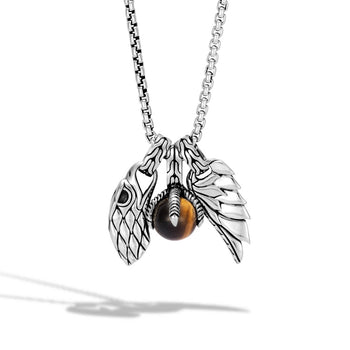 John Hardy Mens Legends Eagle Amulet Silver Chain Necklace with Tiger Eye