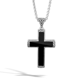 John Hardy Mens Black Jade Cross Necklace with Classic Chain Collection Design