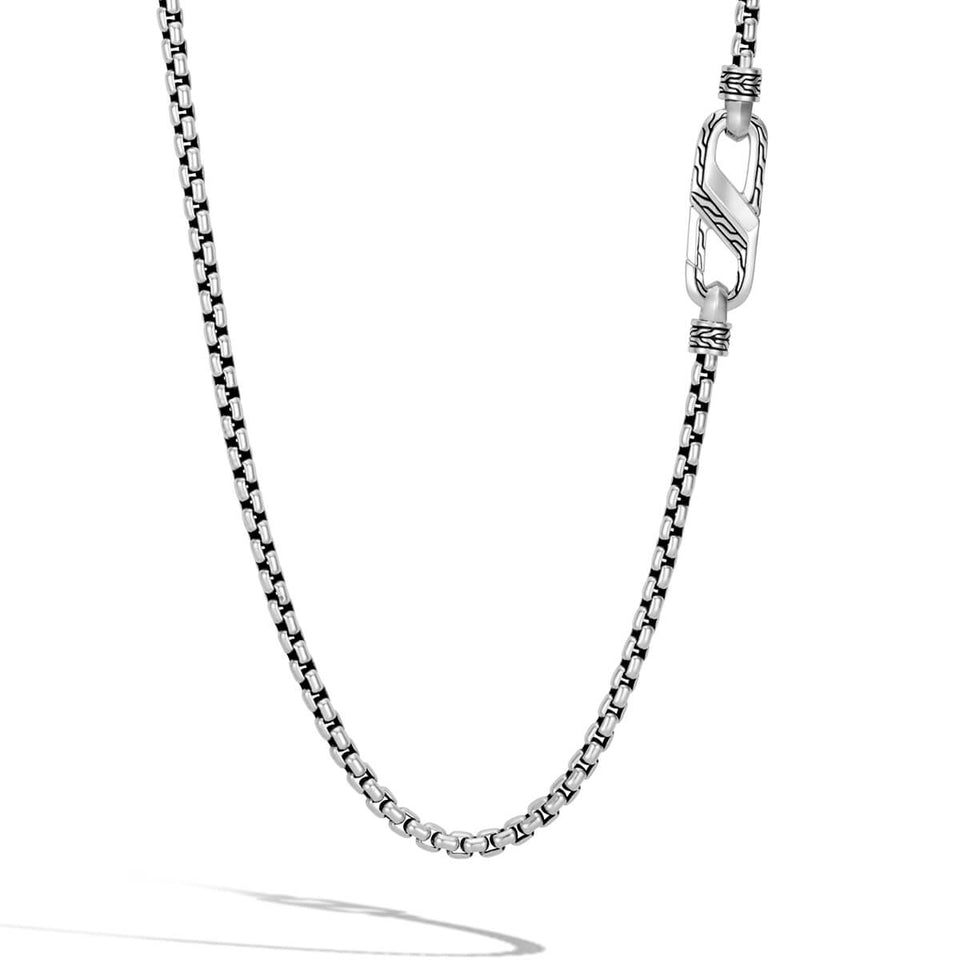 Sterling Silver Box Link Chain with Carabiner Clasp by John Hardy
