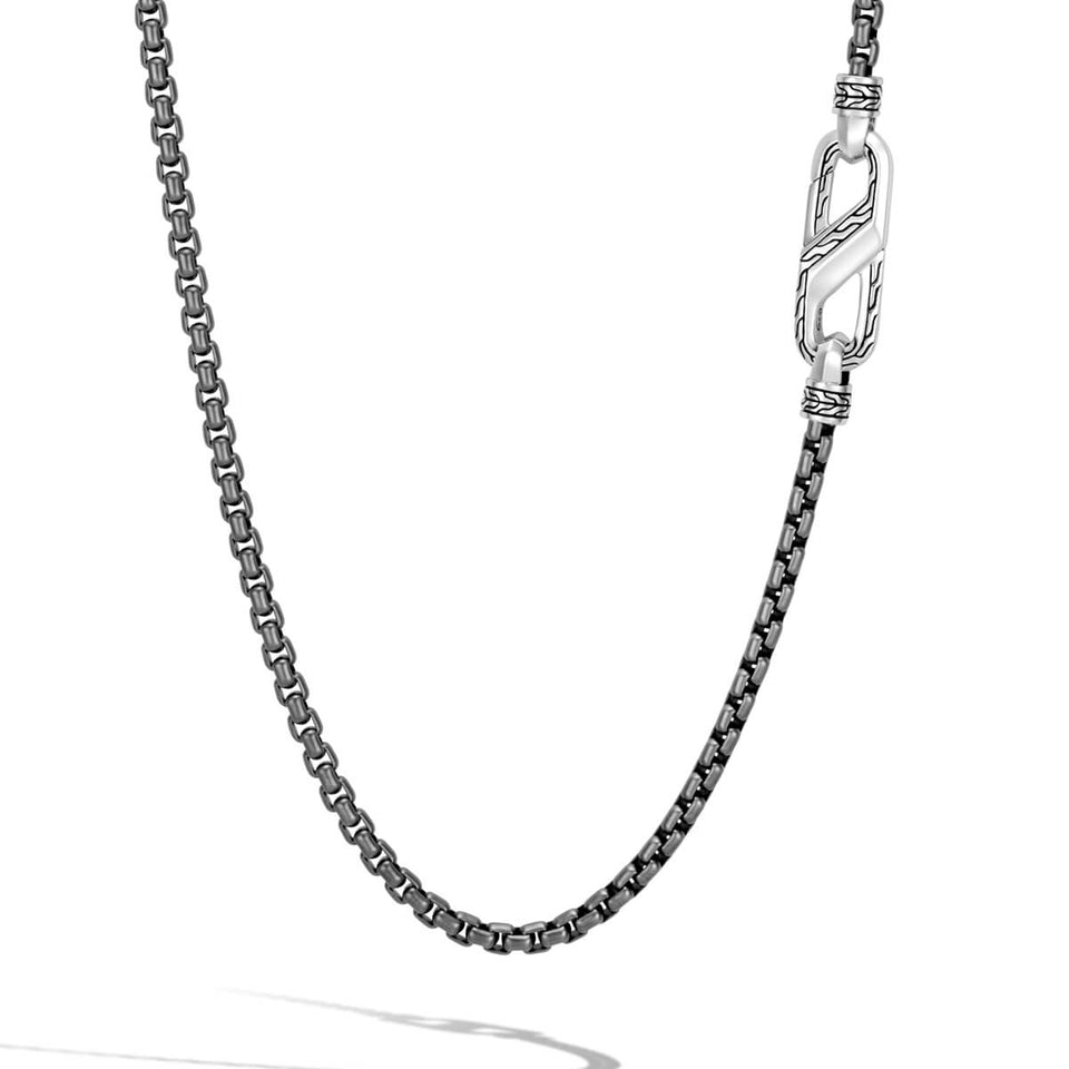 Black Rhodium Silver Box Link Chain with Carabiner Clasp by John Hardy