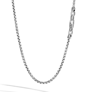 John Hardy Mens Box Chain Sterling Silver 4mm Classic Chain Necklace