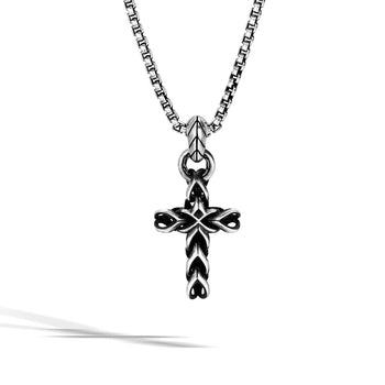 John Hardy Mens Asli Cross Classic Chain Link Style Pendant Necklace