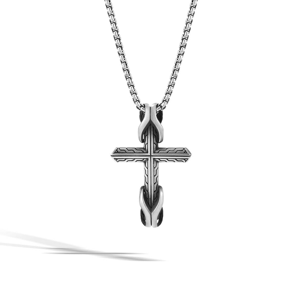 John Hardy Mens Asli Link Cross Classic Chain Motif Pendant Necklace