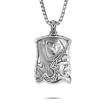 John Hardy Mens Keris Dagger Dog Tag Chain Necklace in Sterling Silver and Damascus Steel