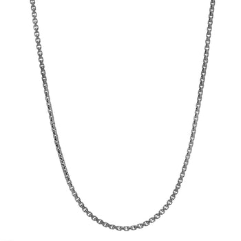 Thin Width Box Link Chain in Black Rhodium Silver by John Hardy