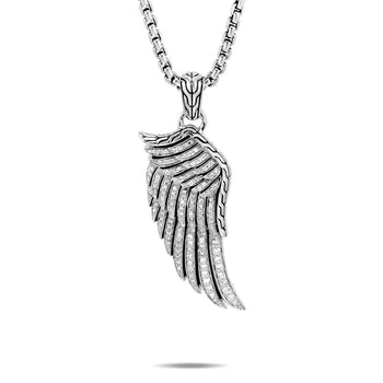 John Hardy Mens Legends Eagle Wing Silver Amulet with Pave Diamonds