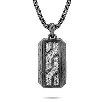 John Hardy Mens Black Rhodium Dog Tag Necklace Classic Chain Motif with Pave Diamonds
