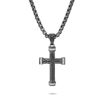 John Hardy Mens Pave Diamond Cross Necklace in Matte Black Rhodium and Brushed Silver