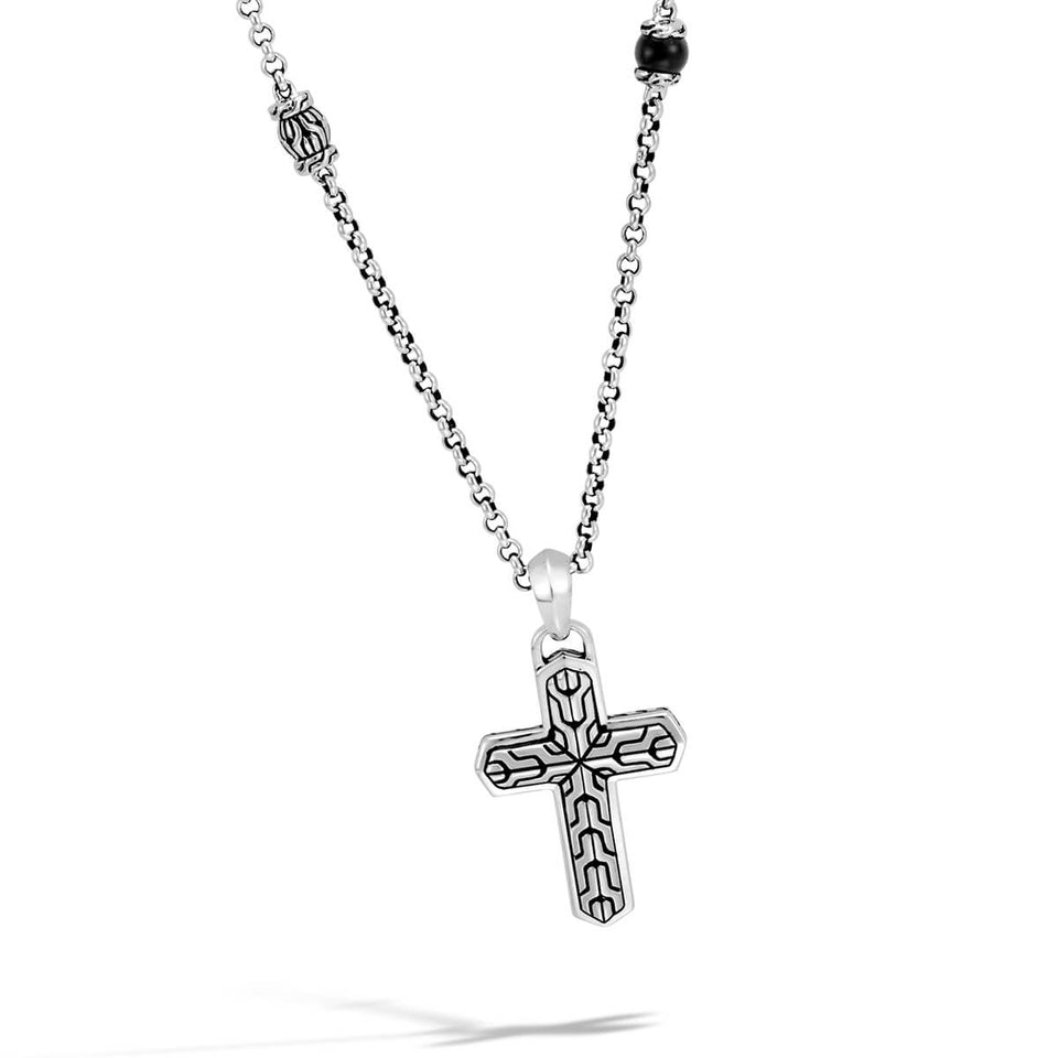 John Hardy Mens Classic Chain Motif Cross Pendant Necklace with Black Onyx Beads