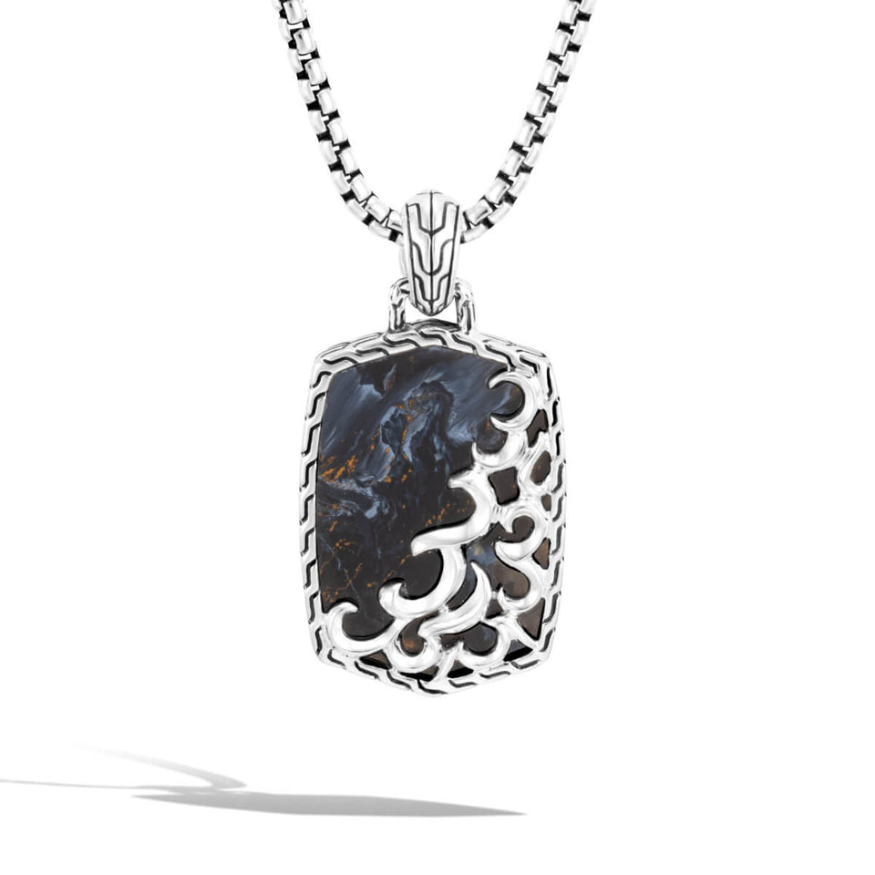 Blue Pietersite Kerris Dagger Dog Tag Pendant Necklace by John Hardy