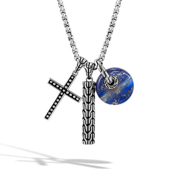 John Hardy Mens Necklace with Jawan Cross, Blue Lapis Stone Circle, and Classic Chain Pendant