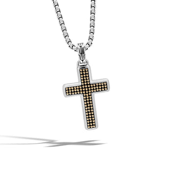 John Hardy Mens 18k Gold Jawan Technique Motif Silver Cross Chain Necklace