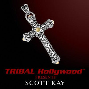 Scott Kay LARGE ENGRAVED SILVER CROSS Gold Center Mens Cross Pendant