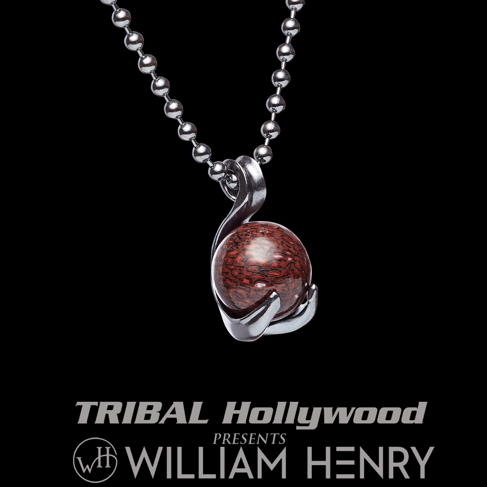 William Henry REGAL DINO Pendant Chain with Red Dinosaur Bone Fossil