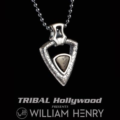 William Henry FERVOR CARBON FIBER Arrowhead Pendant Necklace for Men in Silver