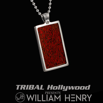 William Henry DINO APEX Red Dinosaur Bone Dog Tag Pendant Chain for Men
