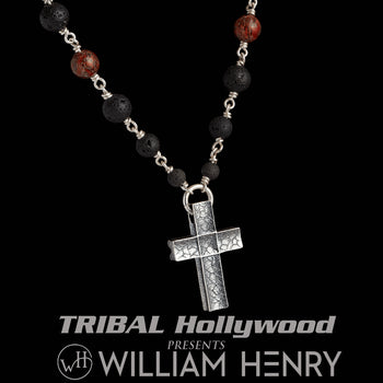 William Henry DINO CRUX Cross Necklace with Lava Bead and Dinosaur Bone