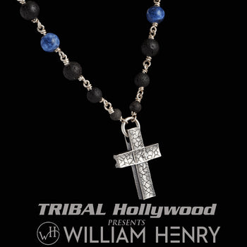 William Henry BLUE SODALITE CRUX Lava Bead and Silver Cross Chain