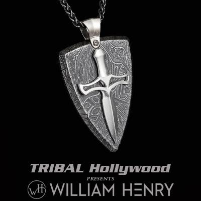 William Henry JOUST DAMASCUS Shield and Dagger Pendant Necklace for Men