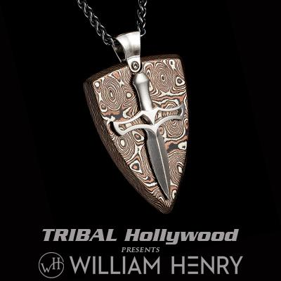 William Henry JOUST MOKUME Shield and Dagger Pendant Necklace for Men