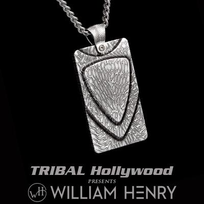 William Henry FORGE DASMASCUS Steel Layered Pendant Necklace with Silver Chain