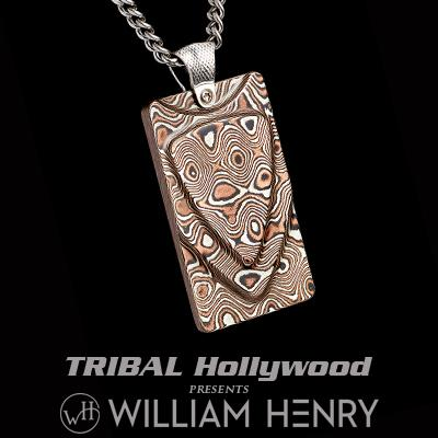 William Henry FORGE MOKUME GANE Layered Pendant Necklace with Silver Chain