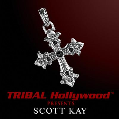 ROYAL ONYX CROSS PENDANT in Sterling Silver by Scott Kay