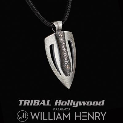 William Henry AMP DAMASCUS Steel and Silver Guitar Pick Paracord Necklace
