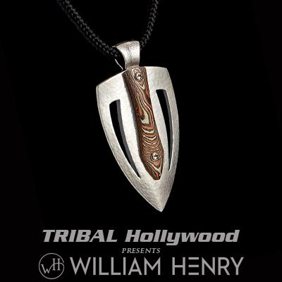 William Henry AMP MOKUME GANE Metal and Silver Guitar Pick Paracord Necklace