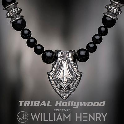 William Henry SHIELD BLACK SARDONYX Bead Necklace with Sterling Silver Pendant